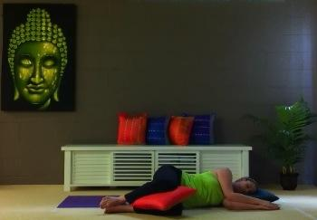 Darlene Sonter practicing for the e-Book, 'Yoga for Pregnancy' by Spirit Yoga.