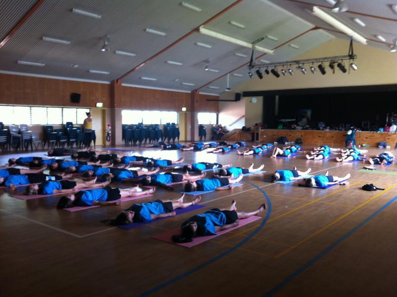 St Paul's (MacKillop College) 50 students resting in Svasana
