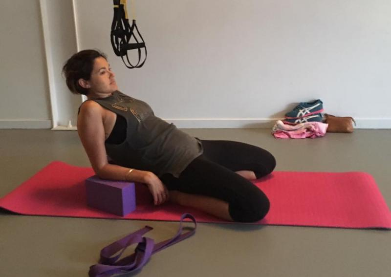 Saddle Pose (elbows to block) - Innovate Body + Mind Studio