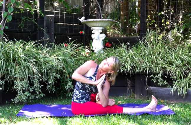 Elbow to foot twist by Martine Ford of Spirit Yoga