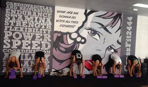 students against the wall upside down in Dangle Pose