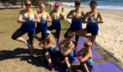 Active Nation Day yoga class outside on Town Green with Martine from Spirit Yoga