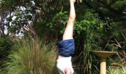 Martine Ford of Spirit Yoga practicing a handstand near the bird bath.