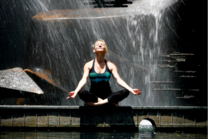 Martine Ford of Spirit Yoga on the cover of the Breathing (Pranayama) Booklet