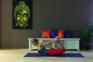 Martine Ford of Spirit Yoga in a pose for the e-Book, Yoga for the Lower Back