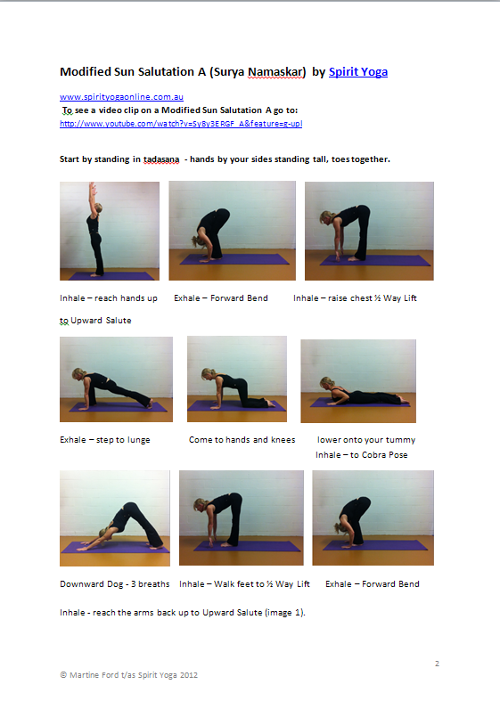 Modified Sun Salutation by Spirit Yoga Port Macquarie